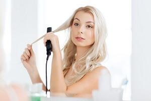 Emily straightening hair